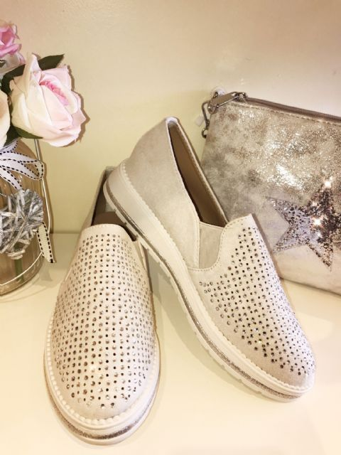 Sparkly Grey Diamante Loafers